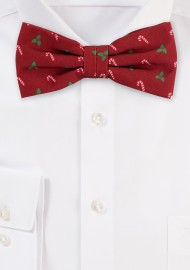 Holiday Print Bow Tie in Crimson Red