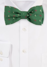 Olive Green Bow Tie with Reindeer Print