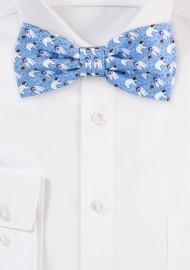 Ice Blue Bow Tie with Polar Bears