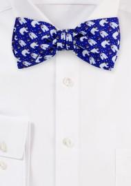 Navy Blue Bow Tie with Polar Bears