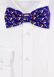 Blue Bow Tie with Red Santa Hats and Candy Canes