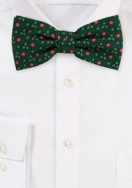 Green Holy Print Christmas Bow Tie