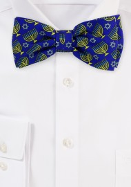 Blue Bow Tie with Menorahs and Stars of David