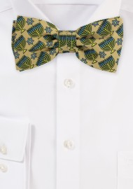 Gold Bow Tie with Stars of David and Menorahs