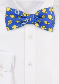 Blue Bow Tie with Dreidels in Gold