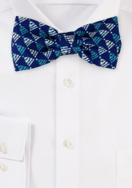 Navy Bow Tie with Teal Christmas Trees