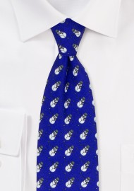 Snowman Print Holiday Tie in Navy Blue