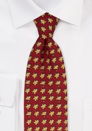 Gingerbread Man Tie in Dark Burgundy
