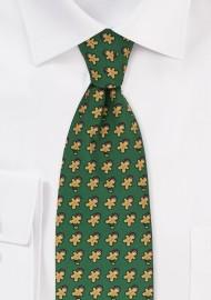 Dark Green Christmas Tie with Gingerbread Men