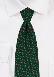 Holly Print Christmas Tie in Dark Green