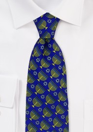 Blue and Gold Menorah Print Necktie