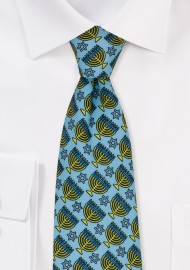 Hanukkah Print Tie in Light Blue with Gold Menorahs