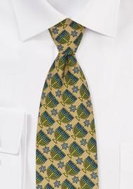 Gold Menorah Print Hanukkah Tie