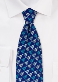 Navy Tie with Teal Christmas Tree Print