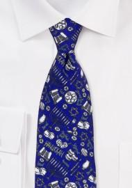 Hanukkah Print Necktie in Blue