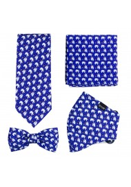 Mask and Tie Set with Polar Bears in Navy
