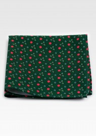 Dark Green Holiday Pocket Square with Holly Leaves