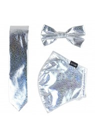 Glitter Mask and Tie Set in Silver