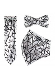 Geo Print Tie and Mask Set in Metallic Silver and Black