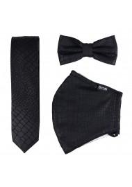 Croc Print Mask and Tie Set in Black