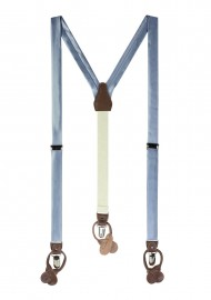 Satin Fabric Suspenders in Slate Blue