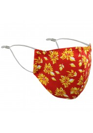 Bright Red and Gold Floral Print Filter Mask