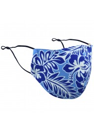 Hawaii Print Floral Mask in Sky Blue