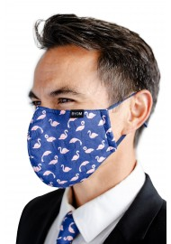 Flamingo Print Filter Mask in Navy and Pink Styled