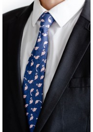 Pink Flamingo Print Cotton Summer Navy Tie in Slim Width Styled