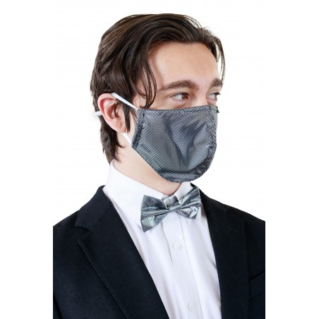 Metallic Print Mask and Tie Set Model Styled