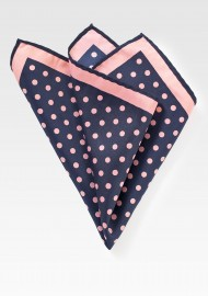 Navy Pocket Square with Pink Dots