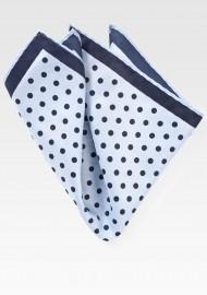 Light Blue and Navy Polka Dot Pocket Square