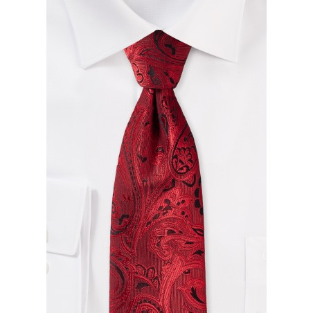 XL Paisley Tie in Ruby Red