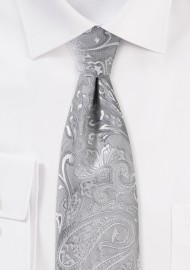 Woven Formal Paisley Tie in Silver