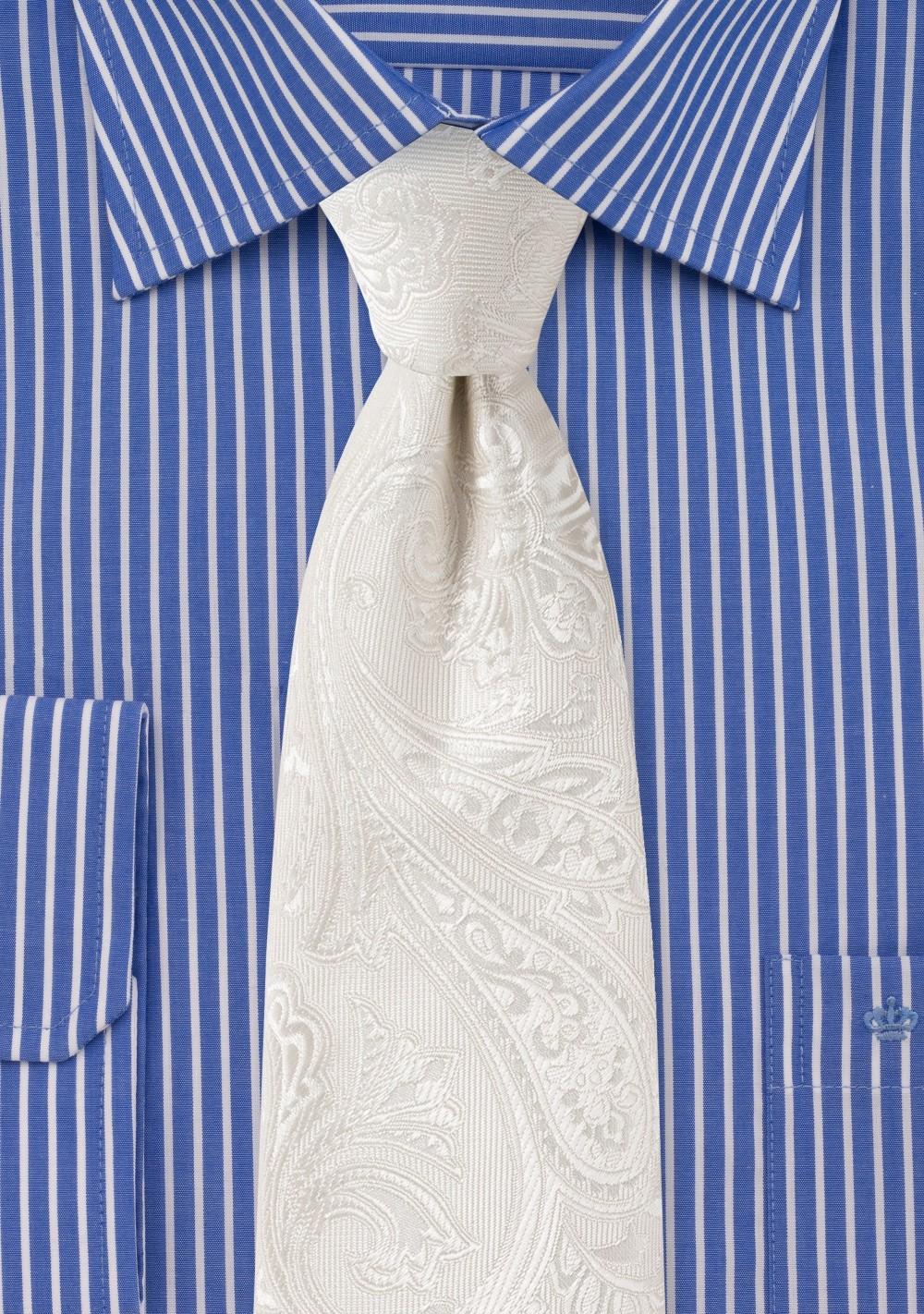 Elegant Woven Paisley Tie in Ivory