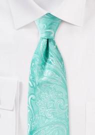 Wedding Paisley Tie in Aqua