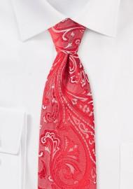 Poppy Red Paisley Tie in XL