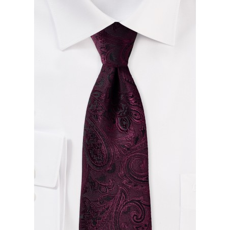 Deep Claret Paisley Tie