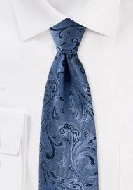 Steel Blue Kids Paisley Tie