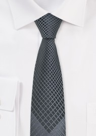 Charcoal and Black Patterned Tie