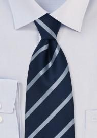 Repp Stripe Tie in Dark Navy and Light Blue