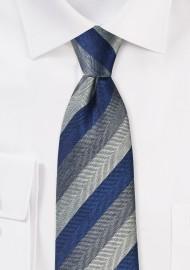 Herringbone Stripe Tie in Navy and Gray
