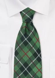 Green and Black Tartan Check Pattern Tie