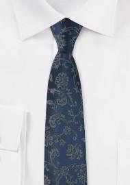 Dark Teal Floral Tie