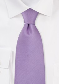 Solid Light Lavender Silk Tie in XL