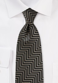 Aztec Striped Necktie in Gold and Black