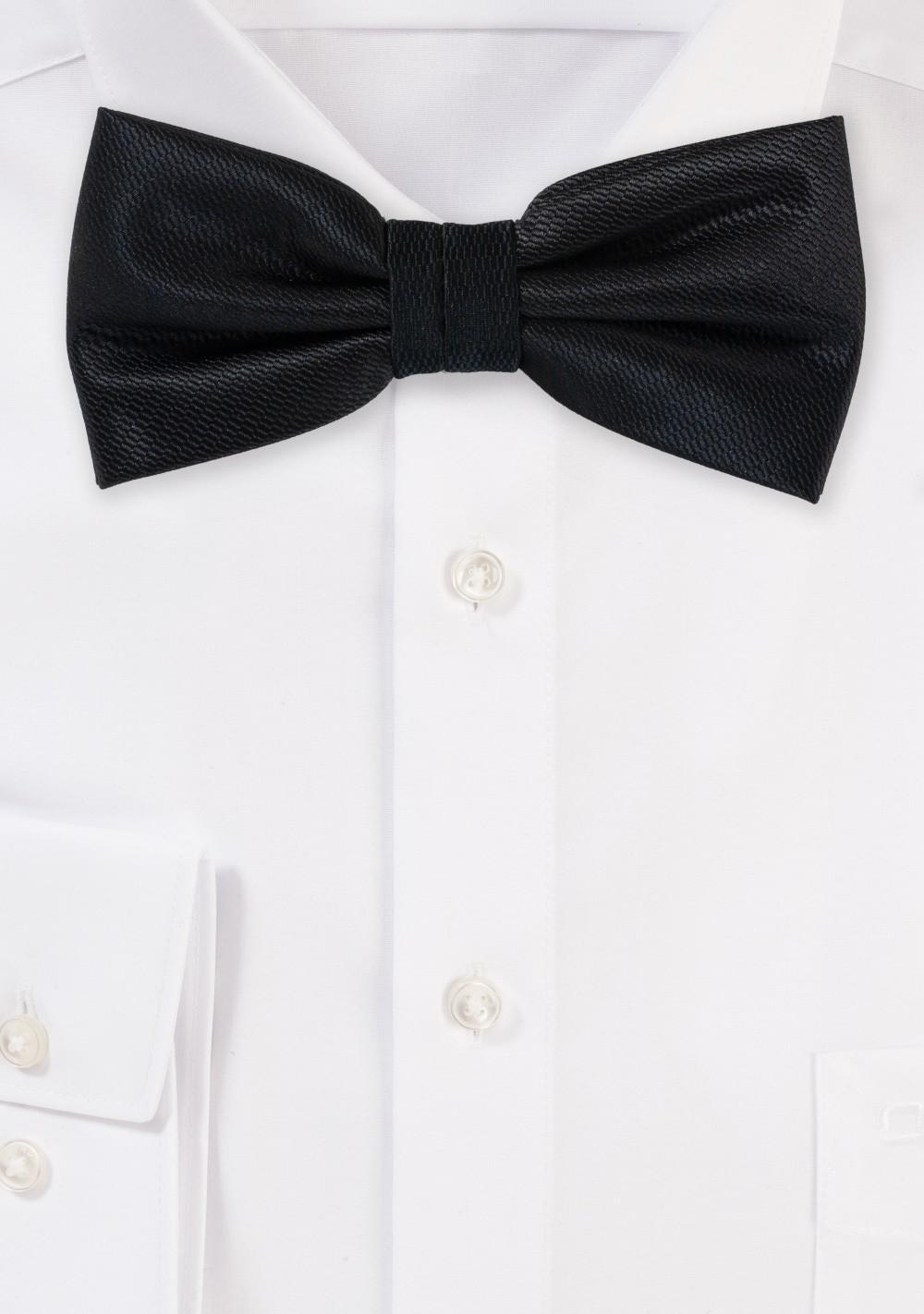 Formal Black Textured Bow Tie