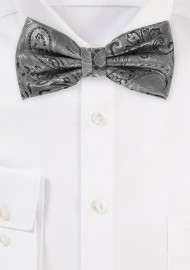 Dressy Paisley Design Bow Tie in Mercury