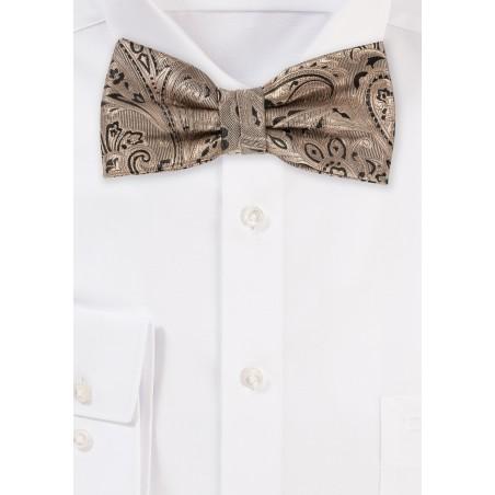 Bronze Gold Paisley Bow Tie
