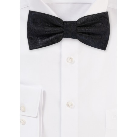 Formal Weave Paisley Bow Tie in Black